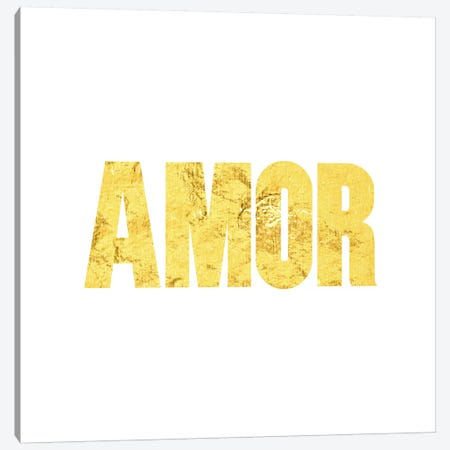 """Amor"" Yellow on White Canvas Print #LTL1} by 5by5collective Art Print"