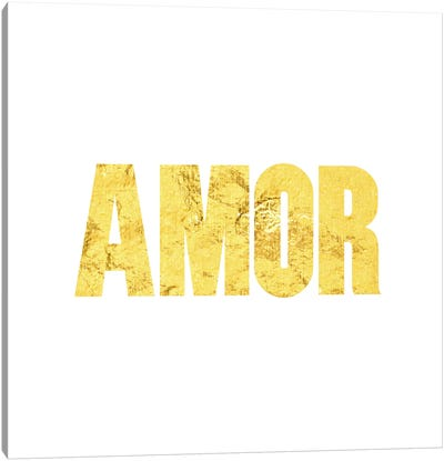 """Amor"" Yellow on White Canvas Art Print"