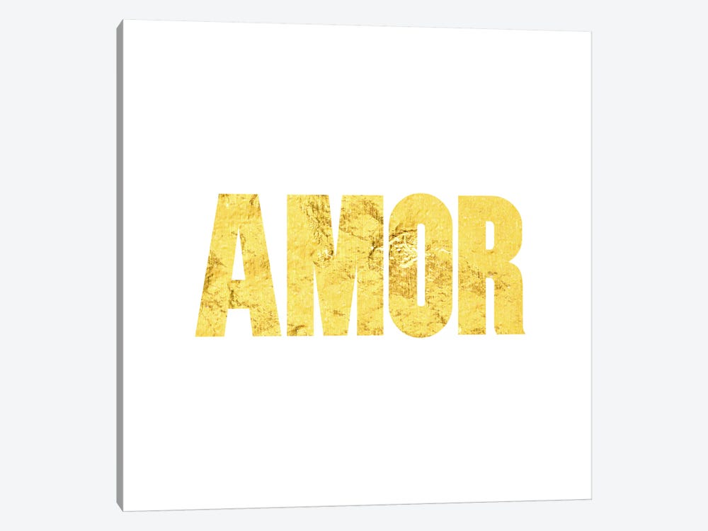 """Amor"" Yellow on White by 5by5collective 1-piece Canvas Print"