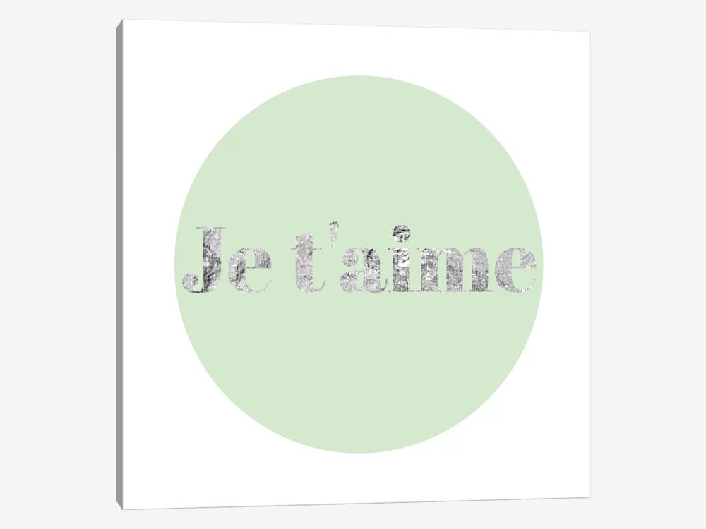 """Je t'aime"" Gray on Green 1-piece Canvas Wall Art"