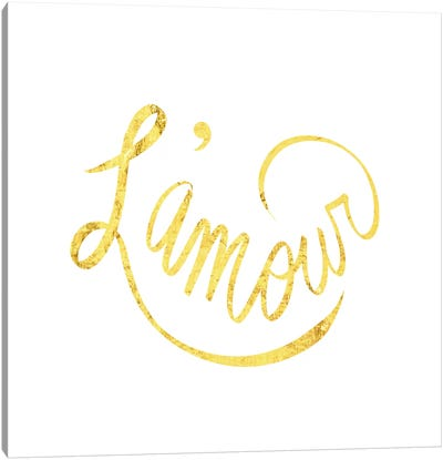 """L'amour"" Yellow on White Canvas Art Print"