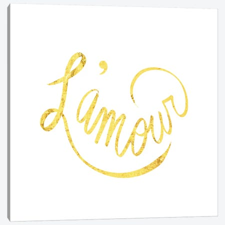 """""""L'amour"""" Yellow on White Canvas Print #LTL21} by 5by5collective Canvas Artwork"""