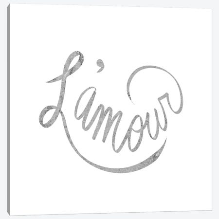 """""""L'amour"""" Gray on White Canvas Print #LTL22} by 5by5collective Canvas Wall Art"""
