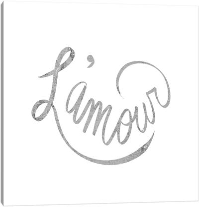 """L'amour"" Gray on White Canvas Art Print"