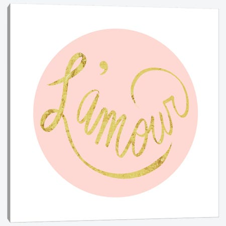 """L'amour"" Yellow on Pink Canvas Print #LTL23} by 5by5collective Canvas Art"