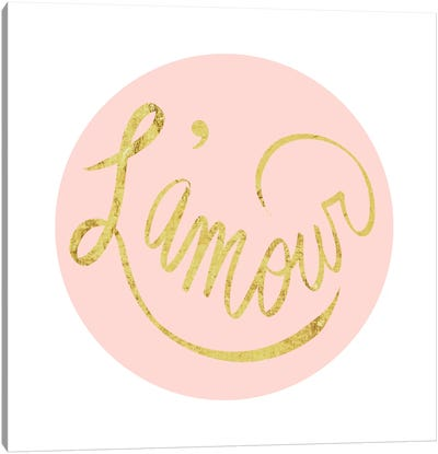 """L'amour"" Yellow on Pink Canvas Art Print"