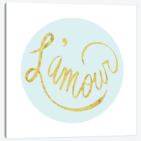 """L'amour"" Yellow on Light Blue Canvas Print #LTL24} by 5by5collective Canvas Art Print"