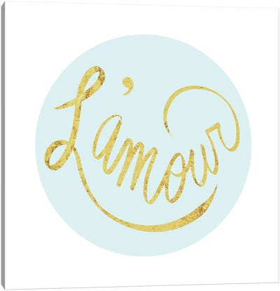 """L'amour"" Yellow on Light Blue Canvas Art Print"