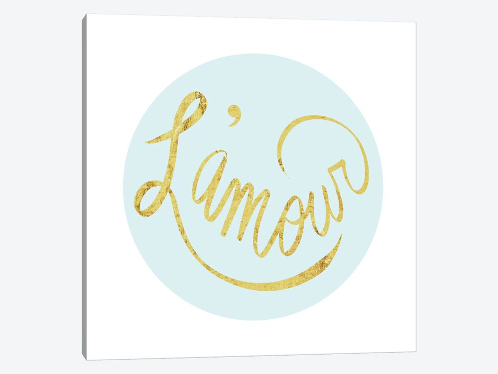 """L'amour"" Yellow on Light Blue by 5by5collective 1-piece Canvas Wall Art"
