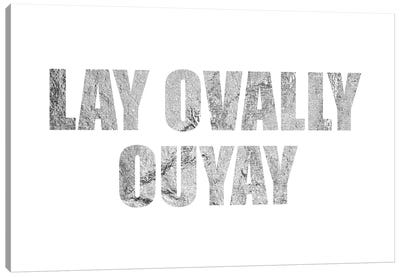 """Lay Ovally Ouvay"" Silver Canvas Art Print"