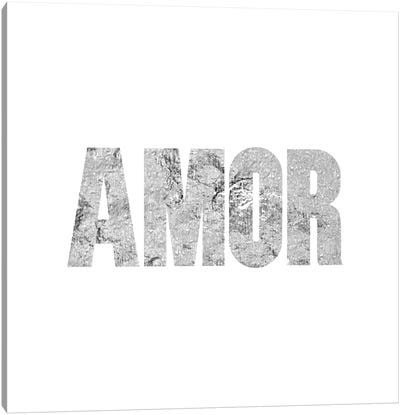 """Amor"" Gray on White Canvas Art Print"