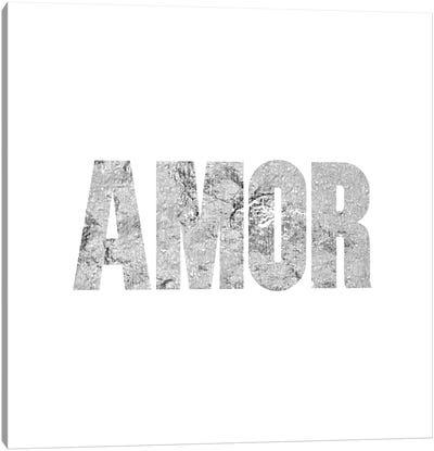 """Amor"" Gray on White Canvas Print #LTL2"
