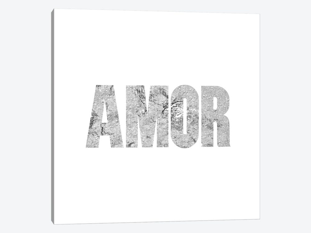 """Amor"" Gray on White by 5by5collective 1-piece Canvas Artwork"