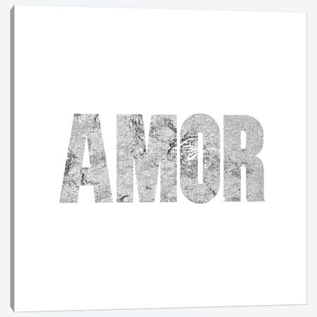 """""""Amor"""" Gray on White Canvas Print #LTL2} by 5by5collective Art Print"""
