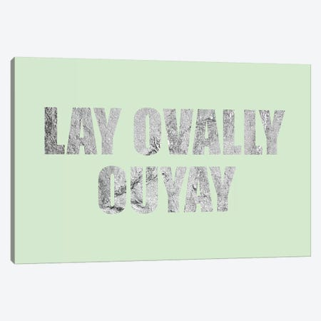 """Lay Ovally Ouvay"" Silver on Green Canvas Print #LTL30} by 5by5collective Canvas Art Print"
