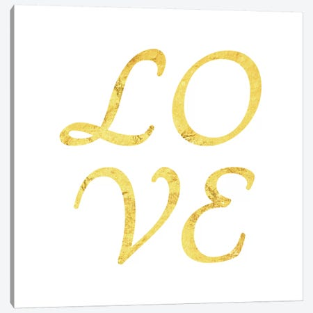 """Love"" Yellow on White Canvas Print #LTL31} by 5by5collective Art Print"