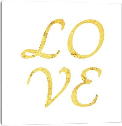 """Love"" Yellow on White Canvas Print #LTL31"