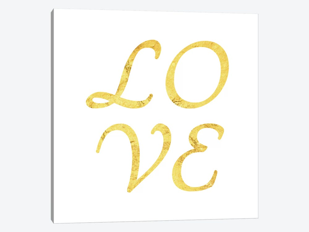 """Love"" Yellow on White by 5by5collective 1-piece Canvas Art"