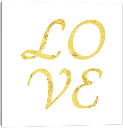 """Love"" Yellow on White Canvas Art Print"