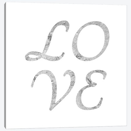 """Love"" Gray on White Canvas Print #LTL32} by 5by5collective Art Print"