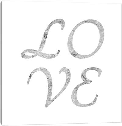 """Love"" Gray on White Canvas Art Print"