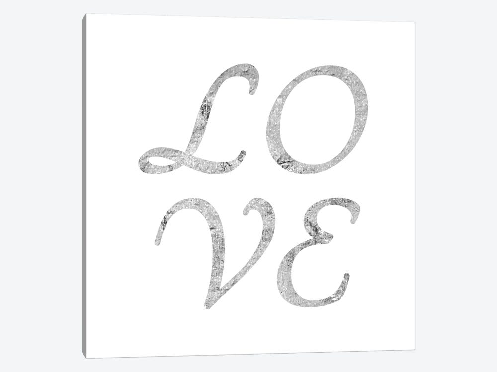 """Love"" Gray on White by 5by5collective 1-piece Canvas Art Print"