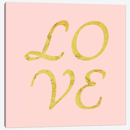 """Love"" Yellow on Pink Canvas Print #LTL33} by 5by5collective Canvas Print"