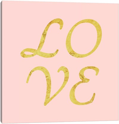 """Love"" Yellow on Pink Canvas Art Print"