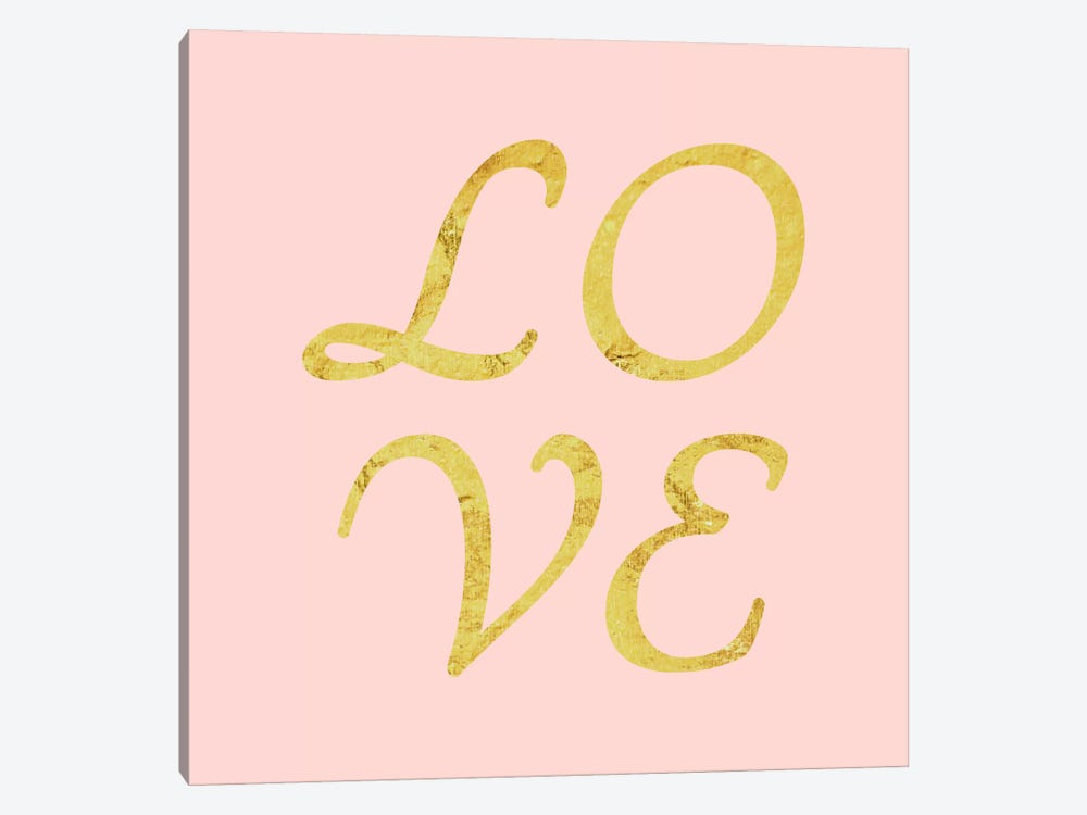 """Love"" Yellow on Pink by 5by5collective 1-piece Canvas Wall Art"