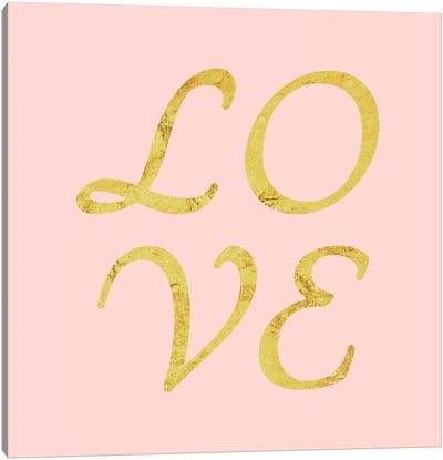 """Love"" Yellow on Pink Canvas Art Print"