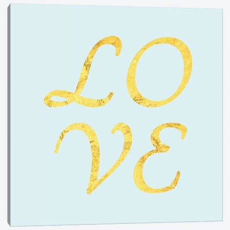 """Love"" Yellow on Light Blue Canvas Print #LTL34} by 5by5collective Canvas Artwork"