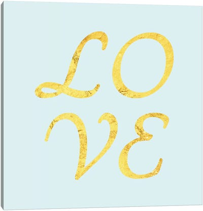 """Love"" Yellow on Light Blue Canvas Art Print"