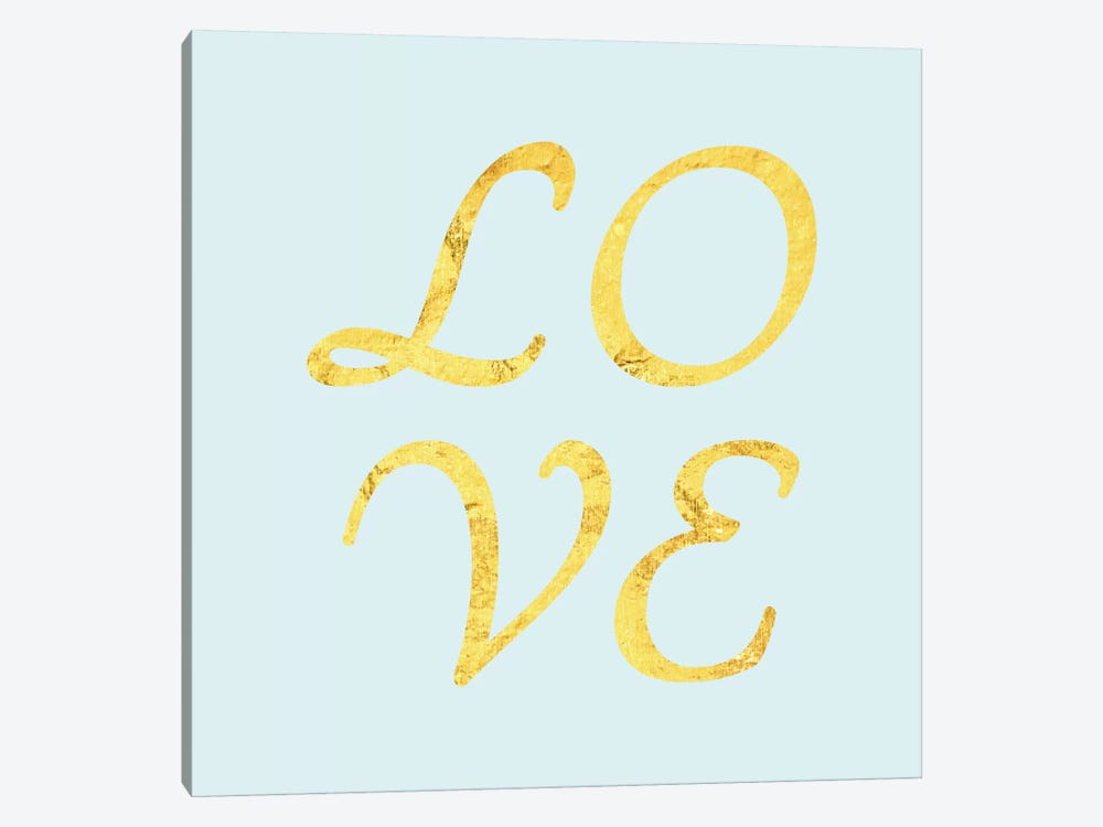 """Love"" Yellow on Light Blue by 5by5collective 1-piece Canvas Print"