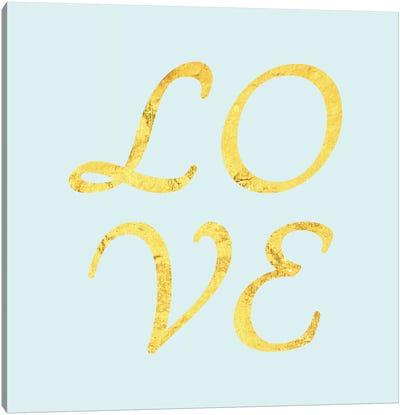 """Love"" Yellow on Light Blue Canvas Art Print"