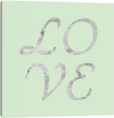 """Love"" Gray on Green Canvas Art Print"