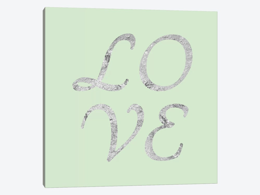 """Love"" Gray on Green by 5by5collective 1-piece Canvas Artwork"