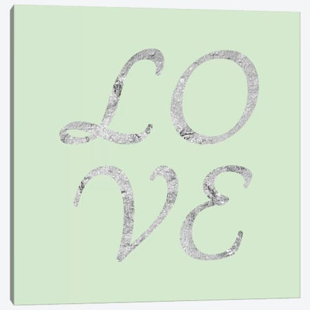 """""""Love"""" Gray on Green Canvas Print #LTL35} by 5by5collective Canvas Artwork"""