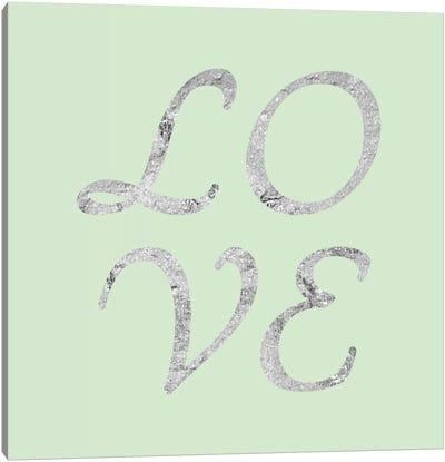 """Love"" Gray on Green Canvas Art Print"