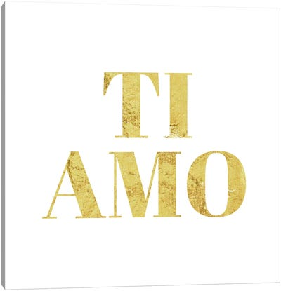 """Ti Amo"" Yellow Canvas Art Print"