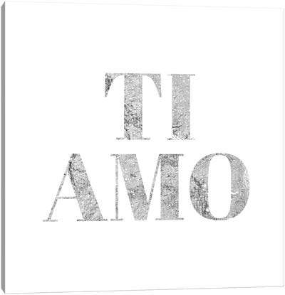 """Ti Amo"" Gray Canvas Art Print"