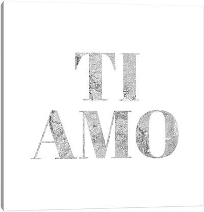 """Ti Amo"" Gray Canvas Art Print"