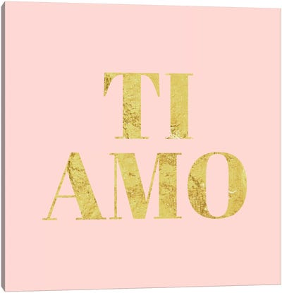 """Ti Amo"" Yellow on Pink Canvas Art Print"
