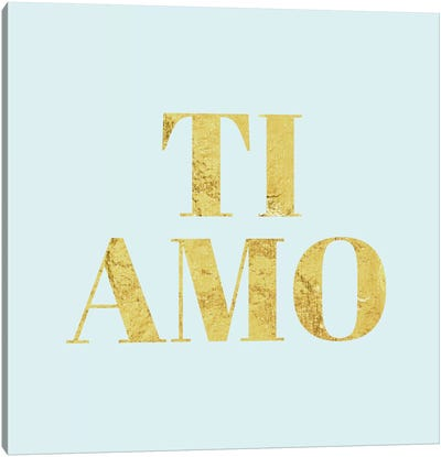 """Ti Amo"" Yellow on Light Blue Canvas Art Print"