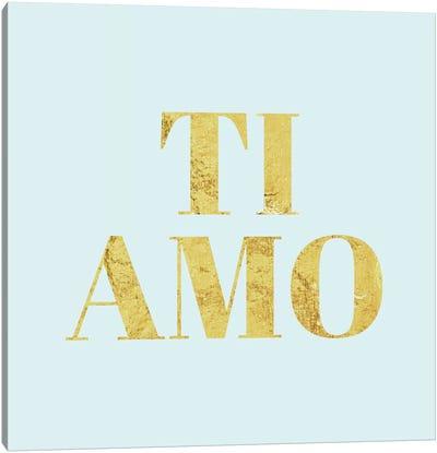 """Ti Amo"" Yellow on Light Blue Canvas Print #LTL39"