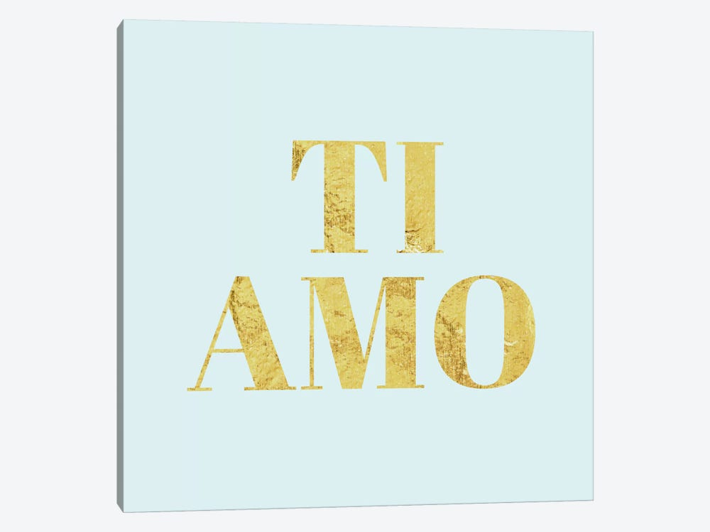 """Ti Amo"" Yellow on Light Blue by 5by5collective 1-piece Canvas Art"