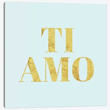 """""""Ti Amo"""" Yellow on Light Blue Canvas Print #LTL39} by 5by5collective Canvas Print"""
