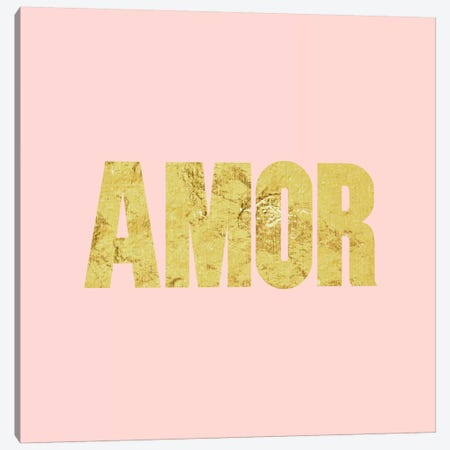 """Amor"" Yellow on Pink Canvas Print #LTL3} by 5by5collective Canvas Print"