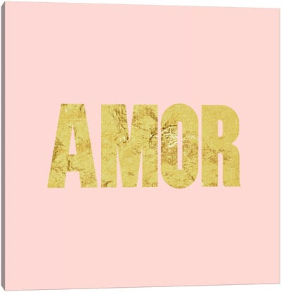 """Amor"" Yellow on Pink Canvas Art Print"