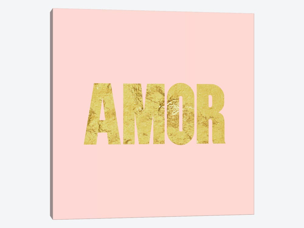 """Amor"" Yellow on Pink 1-piece Art Print"