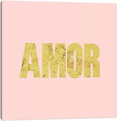 """Amor"" Yellow on Pink Canvas Art Print"